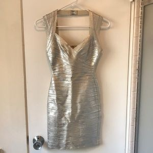 Herve Leger By Max Azaria Silver Dress